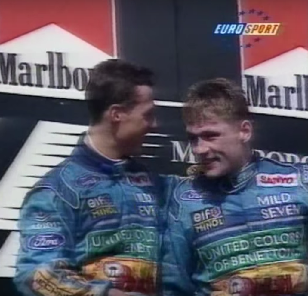 Verstappen en Schumacher op het podium.